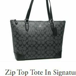 179$ new Coach zip top tote in mono canvas